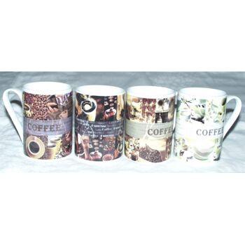 Kaffeebecher - Kaffeetasse - Becher Kaffee feines Porzellan 4fach sortiert