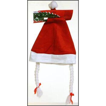 28-337314, Weihnachtsmannmütze mit Zöpfen und Schleifen, Nikolausmütze