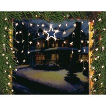 Disconter Restposten Sonderposten Fenstervorhang Sternen Vorhang LED-Sternenvorhang 126x90cm Weihnachts Deko
