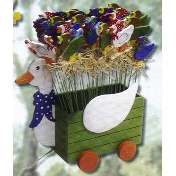 Blumenstecker, Holzstecker Gans mit Kopftuch, Deko für Sommer, Herbst Terrasse, Balkon, Garten Outdoor