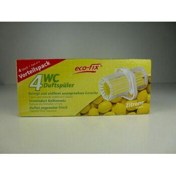 WC Duftspüler 4er Pack, Zitrone, vermindert Kalkansatz