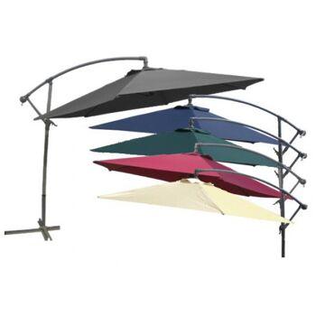 Ampelschirm Sonnenschirm Ø 3m mit Kurbel und Stahlfuß 6 Farben zur Auswahl