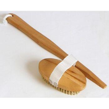 28-100132, Holz Badebürste 40 cm, Rückenbürste, Griff abnehmbar, Massagebürste
