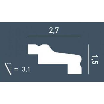 Eckleiste Stuckprofil Stuckleiste Zierprofil Dekor kantig Wand-Leiste Decken-Leiste | 2 Meter