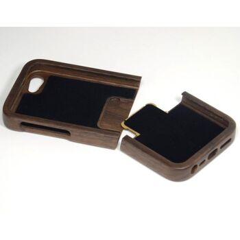 t4c Echtholz Walnuss Cover für iPhone 5 - Holz Hülle Case Hardcase Handy Schale