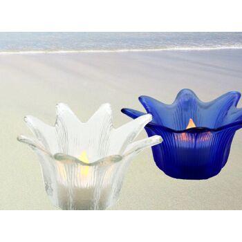 Windlicht Glasleuchter Lotus, für Teelicht Deko f Garten, Outdoor Camping