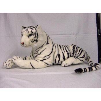 XL Tiger 110 cm, weiß liegend, Plüschtier, Kuscheltier, auch TOP Deko