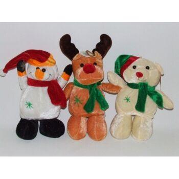27-37025, Plüsch Weihnachtstiere 22 cm mit Schal und eine Mütze