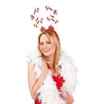 27-46914, Haarreif - Weihnachten edles Geweih mit Glöckchen weiß