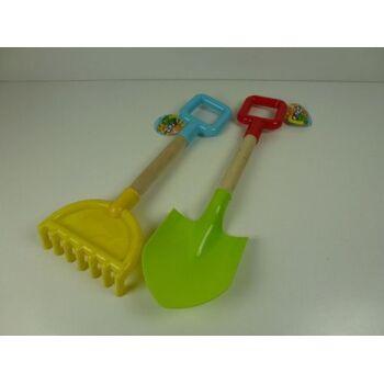 Sandspielzeug gross, Schüppe, Harke, mit Holzstiel, stabil, Strandspielzeug