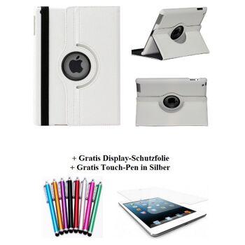 Edle 360° Kunstleder Tasche weiss für iPad 2 3 4 inkl. Display-Schutzfolie + Touch-Pen Ledertasche Cover Case Hülle