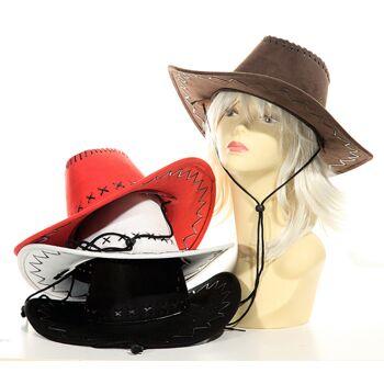 17-21848, Leder Cowboyhut, Truckerhut, Westernhut, Karneval, Fasching, Party, Event, Kostüm