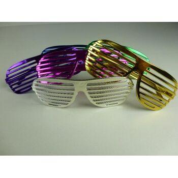 06-6045, Partybrille metallicfarben, Atzenparty, Atzenbrille, Jalousiebrille, Partybrille, Karneval, Fasching, Event, usw.