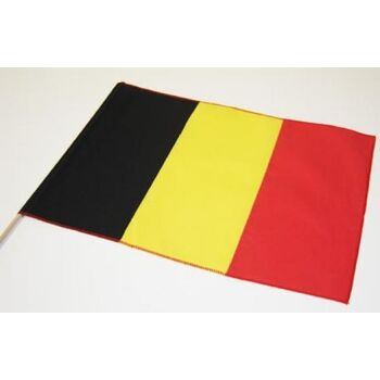 Baumwoll-Fahne Belgien mit Stab Fahne Stockfahne Flagge