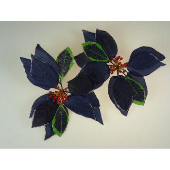 Dekoblüte 20 cm, mit Glitter, blau mit roten Beeren, Dekoblume, Tischdeko, usw.