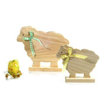 17-26569, Holz Schaf, stehend, mit Schleife, 22 x 19 cm, Deko zu Ostern, Frühjahr, usw.