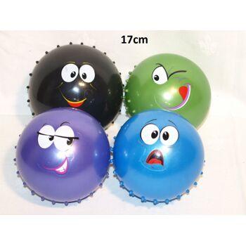 19-10440, Noppenball 17 cm, mit Gesicht, Strandball, Wasserball, Beachball, Massageball
