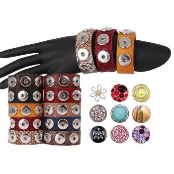 Chunk Easy Button Leder Armband Chunks Bead Druckknopf Wickelarmband Lederarmband 23cm Top Qualität nur 2,95 Euro