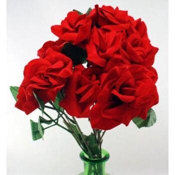 27-10569, Vliska Rose 40 cm mit Blattwerk, Kunstblume