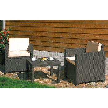 Restposten Posten Baumarkt Discounter Balkon Allibert Lounge-Sitzgruppe 3 tlg. Gartenmöbel Terrasse