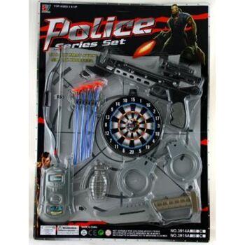 Polizeikarte 11-teilig, mit Bogen, Funkgerät und viel Zubehör