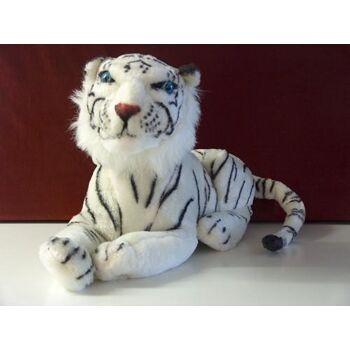 Tiger 70 cm, weiss liegend, Plüschtier, Kuscheltier, Zootier