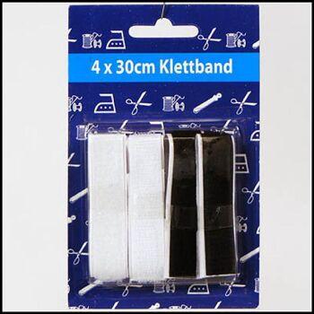 28-019202, Klettband 4x30cm schwarz/weiß, 2cm breit