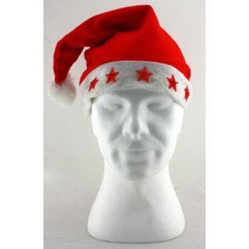 27-42489, Weihnachtsmütze mit Blinklichern, Fleece, Nikolausmütze