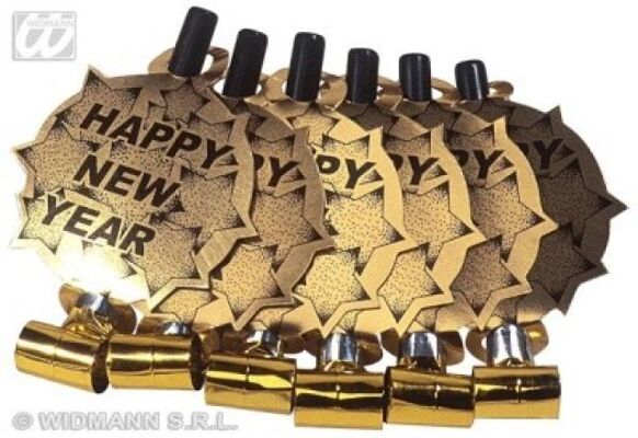 27-44198, Luftrüssel Happy new Year gold - 6er Pack, Party, Karneval, Fasching, Silvester, Event, usw