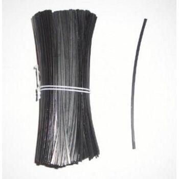 Beutelverschluss schwarz 150mm lang aus PE mit Drahteinlage \