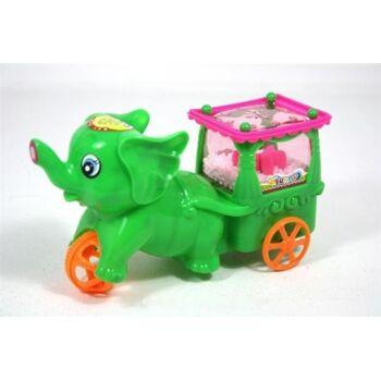 Elefantenaufziehwagen 17 cm, mit Anhänger