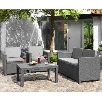 Restposten Posten Baumarkt Allibert Lounge-Sitzgruppe Victoria 4 tlg. Gartenmöbel Terrasse