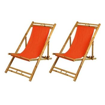 Restposten Posten Baumarkt Bamboo Relax-Liegestuhl  2er Set verschiedene Farben