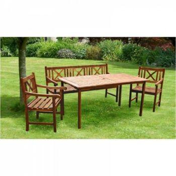 Restposten Posten Baumarkt Gartengruppe Tisch Stühle Holz 4 tlg. Set
