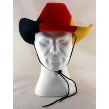 stabiler Cowboy Hut Deutschland Farben, fester Filz BRD-Fanhut