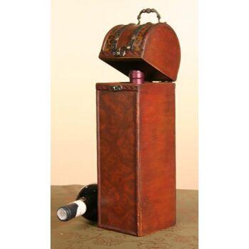 17-96020, Flaschentruhe, 36cm, Wurzelholzoptik, Holz/Leder/Metall