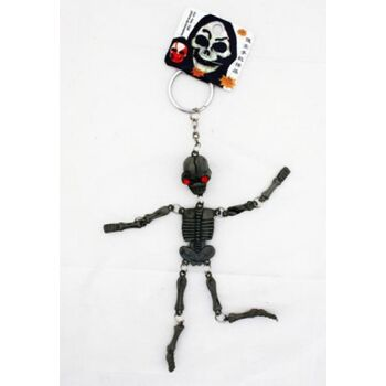 27-12861, Skelett 14cm, mit roten Augen an Schlüsselkette