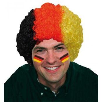 BRD Perücke, Deutschlandfarben, Locken, Fanartikel