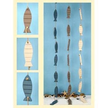 17-40536, Dekogirlande Holzfische, 125 cm, 9 Fische