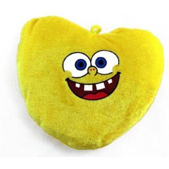 27-21527, Herz gelb 15 cm, mi Gesicht, Plüschherz