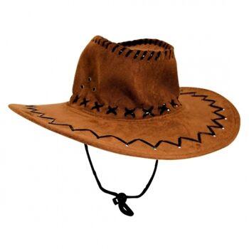 10-542320, Leder Cowboyhut NUR hellbraun, Westernhut, Truckerhut, Partyhut, Eventhut, Sommerhut