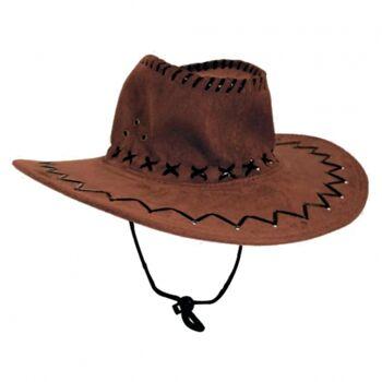 10-542339, Leder Cowboyhut NUR dunkelbraun, Truckerhut, Westernhut, Partyhut, Eventhut, Sommerhut