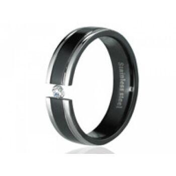 Damenring Edelstahl Schwarz silberfarbener mit Zirkonia Stein Größe 52 / 16,5mm Ring NEU