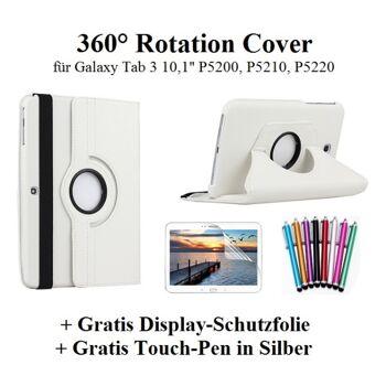 Edles 360 Grad Cover für Samsung Galaxy Tab 3 10,1 Zoll weiß inkl. Display-Schutzfolie + Touch-Pen