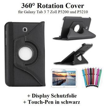 Edles 360 Grad Cover für Samsung Galaxy Tab 3 7 Zoll schwarz inkl. Touch-Pen