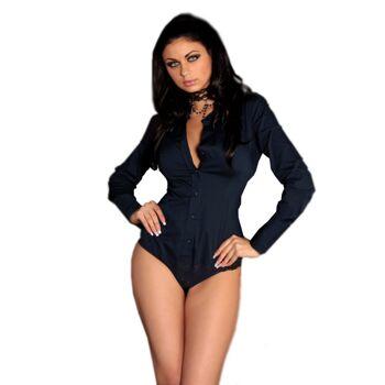 Bodybluse - Farbe: Navy Blau - Größe: 36/S, 38/M, 40/L, 42/XL