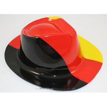 06-6303, Cowboyhut Deutschlandfarben, wetterfest, Kunststoff, BRD Farben, Flagge, Fahne, Party, Event, usw.
