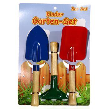 17-29858, Kinder Garten-Set, 3-teilig, Holz/Metall, Sandspielzeug, Gartenwerkzeug++++