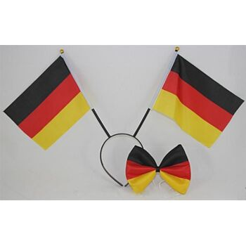 Fanset Deutschland 2-teilig, Haarreif 36 cm, mit 2 Flaggen + Fliege, BRD Farben, Fahne, Flagge