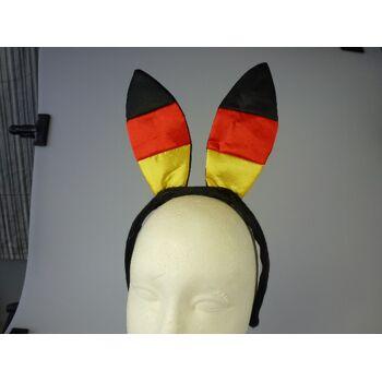 Satin Bunny Ohren Deutschlandfarben, Haarreif mit Ohren, BRD Farben, Flagge, Fahne, Event, Fanmile, Party, usw.